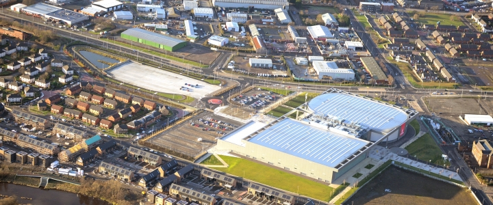 Arial photo of the Athletes' Village, Emirates Arena and Sir Chris Hoy Velodrome