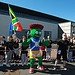 Clyde the Glasgow 2014 mascot outside Girvan Co...