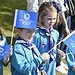 Young children cheer on the Baton Relay at Lana...